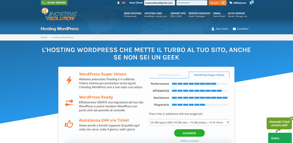 Vhosting wordpress
